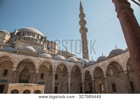 Istanbul, Turkey, 25 March 2019: Suleymaniye Mosque in summer, Turkey. Suleymaniye Mosque is a famous landmark of Istanbul. Sunny view of courtyard of the Suleymaniye Camii. Magnificent Ottoman