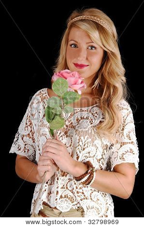 Lovely Girl With Pink Rose.