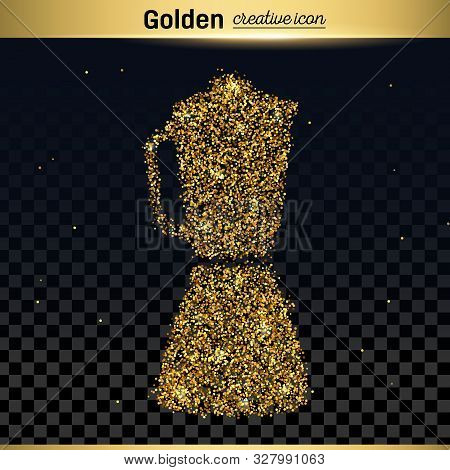 Gold Glitter Vector Icon Of Blender Isolated On Background. Art Creative Concept Illustration For We