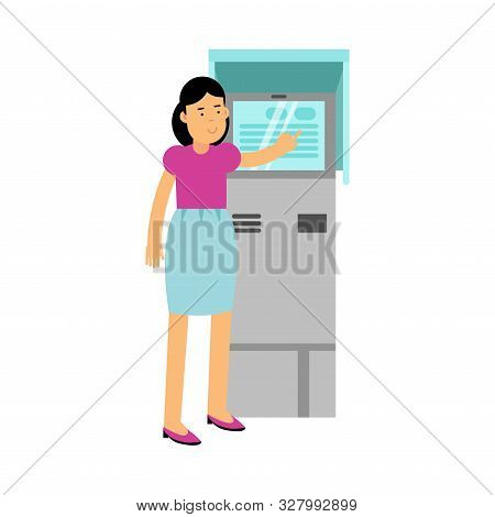 Young Woman Standing Near Atm Tapping On The Screen Vector Illustration
