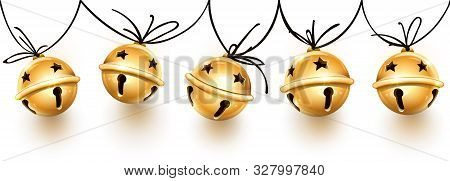Christmas Holiday Decoration Garland Of Golden Jingle Bells On The Rope. Festive Seamless Pattern Wi