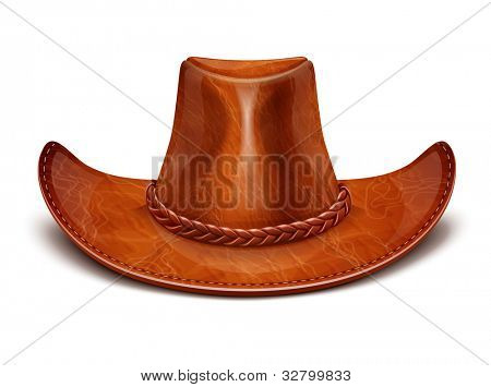 cowboy's leather hat stetson vector illustration isolated on white background EPS10. Transparent objects and opacity masks used for shadows and lights drawing
