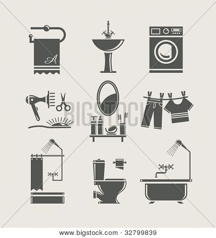 bathroom equipment set icon vector illustration