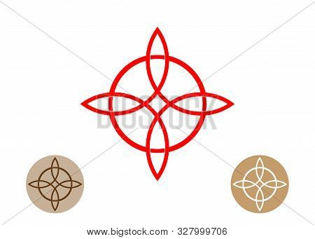 Celtic Like Style Linear Star With Circle Symbol. Linear Knot Logo, Red Trinity Knot, Wiccan Symbol