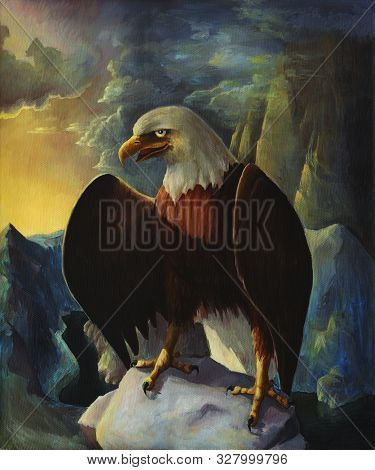 Bald Eagle In Mountains Oil Painting Landscape With Rocks, Wild Bird Drawing In Nature, Hand Drawn A