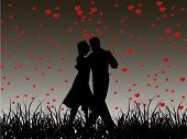 Beautiful Valentines Day flyer or background design or poster with dancing couple silhouette on heart shapes in evening background. EPS 10, Vector illustration. poster