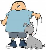 This illustration depicts a small boy holding his dog on a leash. poster