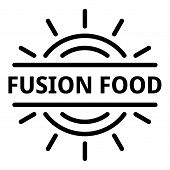 Fusion food logo. Outline fusion food vector logo for web design isolated on white background poster