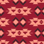 Tribal southwestern native american navajo seamless pattern. Ethnic fashion aztec ornament, abstract geometric handmade print for textile and surface design, package, wallpaper, wrapping paper poster