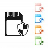 Black SD card and shield icon isolated on white background. Memory card. Adapter icon. Security, safety, protection, privacy concept. Set icons colorful. Vector Illustration poster
