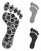 Footprint mosaic of joggly items in various sizes and color tones, based on footprint icon. Vector joggly dots are grouped into collage. Footprint icons collage with dotted pattern. poster