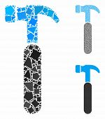 Claw hammer mosaic of joggly pieces in variable sizes and color tints, based on claw hammer icon. Vector joggly items are composed into mosaic. Claw hammer icons collage with dotted pattern. poster