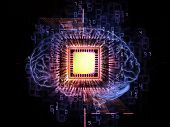 Design composed of head outlines computer chip numbers on the subject of thinking logic computing and brain power poster