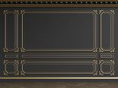Classic interior black wall with gilded mouldings.Ornated cornice.Floor parquet herringbone.Digital illustration.3d rendering poster
