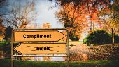 Street Sign the Direction Way to Compliment versus Insult poster