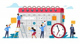 People Planning Concept. Entrepreneurship And Calendar Schedule Planning With Filling Course Campaig