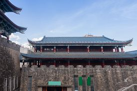 Traditional Chinese Tower On City Wall. China