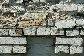 Fragment Of A White Brick Wall Close-up