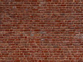 Terracotta Brick Wall Background Texture. Background Of Old Vintage Red Brick Wall. Grunge Red Brick