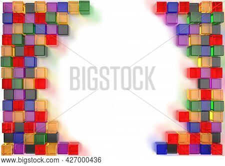 3D Rendering Image Of Colorful Cubic Glass