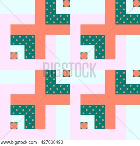 Vector Seamless Pattern With Pastel Colors Geometry. Geometric Shapes, Squares, Polka Dots In Gentle