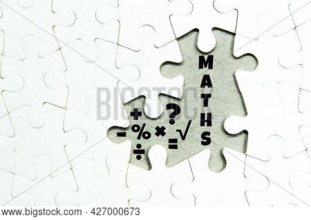Jigsaw Puzzles With Maths Words And Maths Icons. Mathematical Concepts