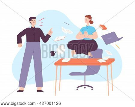 Yoga In Office Stress. Calm Woman Meditate In Lotus On Work Desk With Angry Yelling Boss. Employee I