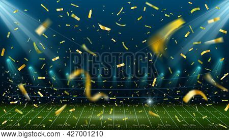 Football Stadium With Golden Confetti. Landscape With American Football Field And Arena Lights. Spor