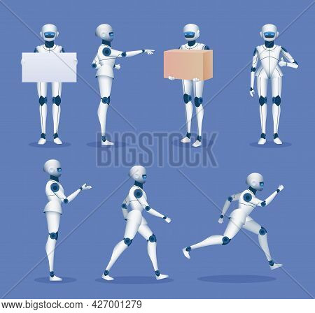 Humanoid Robot Mascot. Cartoon Future Android Character Poses. 3d Robots Running, Standing, Holding