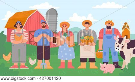 Farmers Team. Cartoon Agricultural Man And Woman With Fresh Product And Farm Animals. Rural Landscap