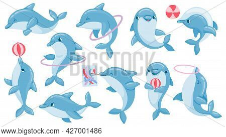 Dolphins With Balls. Cute Cartoon Blue Dolphin Character Play, Jump Through Hoop And Draw. Marine An