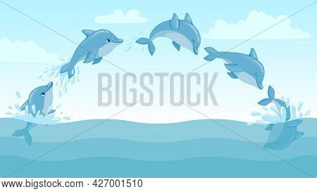 Dolphin Jump Out Of Water. Cartoon Marine Landscape With Jumping Dolphins And Splashes. Cute Ocean D