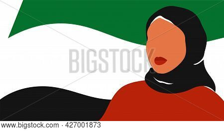 Muslim Girl Stands Against The Uae Flag. Emirati Women's Day Greeting Card With Young Arab Woman Wea