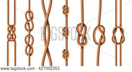 Nautical Knots. Realistic Ropes With Sailor Or Scout Knot Types. Tied Marine Jute Cords With Loops.