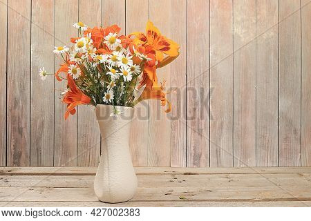 Abstract Flower Arrangement, Background, Minimal Holiday Concept With Flowers, Autumn-summer Banner.