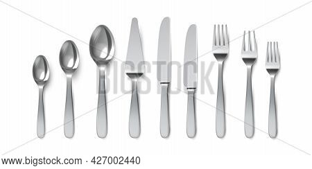 Realistic Cutlery. Spoons, Forks And Table Knives. Silverware Utensil For Serving. Dessert Spoon And