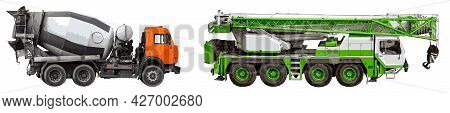 Loader Crane And Truck Mixer Isolated On White Background. Color. Vector, Eps10.