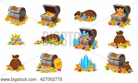 Cartoon Treasure. Game Icons Of Open Chests And Bags With Gold Coins, Gems, Crowns And Crystals. Med