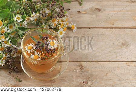Chamomile And Mint Herbal Tea, Oregano And Hypericum, Alternative Medicine Concept, Autumn Backgroun