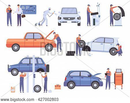Car Repair Service Workers. Mechanic In Automobile Workshop Change Wheels And Fix Damage Vehicle. Ca