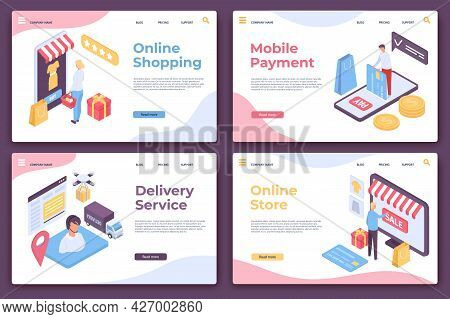 Online Shopping Landing Page. Isometric Website Pages For Mobile Payment, Delivery Service And Shop