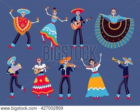 Day Of Dead Skeletons. Mexican Dia De Los Muertos Skeleton Dancers Characters. Catrina, Mariachi Mus