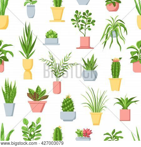 Pot Plants Seamless Pattern. Houseplants, Cactus And Succulents, Garden In Pots Home Interior Decor.