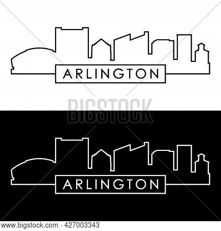 Arlington, Texas Skyline. Linear Style. Editable Vector File.