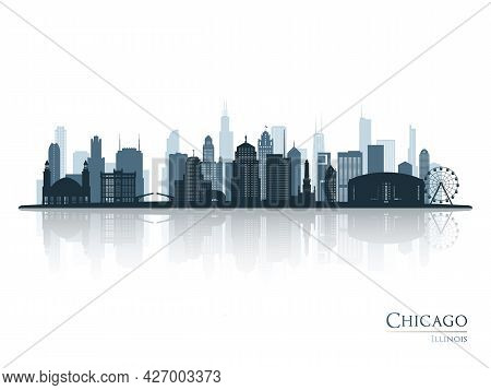 Chicago Skyline Silhouette With Reflection. Landscape Chicago, Illinois. Vector Illustration.
