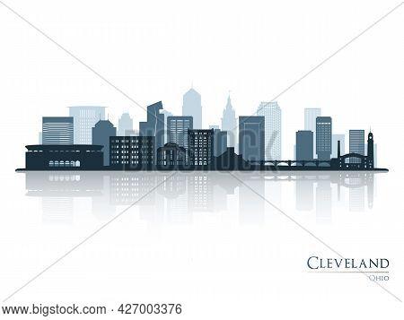 Cleveland Skyline Silhouette With Reflection. Landscape Cleveland, Ohio. Vector Illustration.