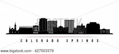 Colorado Springs Skyline Horizontal Banner. Black And White Silhouette Of Colorado Springs, Colorado