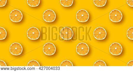 Orange Fruit Seamless Pattern. Fresh Citrus Orange Clices On Orange Background. Vector Design Templa