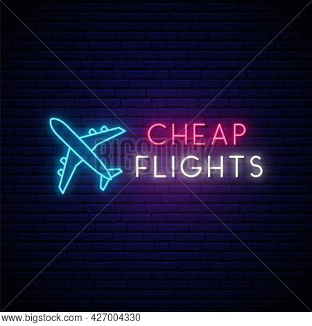 Neon Airplane Sign. Glowing Neon Banner With Air Tickets Advertise. Cheap Flights Concept. Vector Il