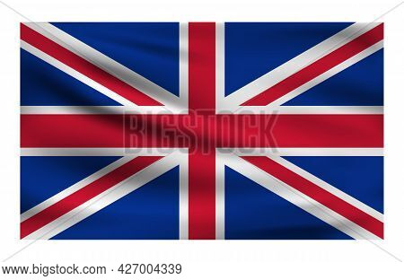 Realistic National Flag Of United Kingdom. Current State Flag Made Of Fabric. Vector Illustration Of